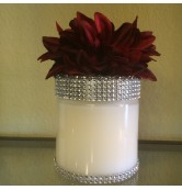 29 oz Candle Red Flower Wrapped in Silver Bling
