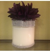 29 oz Candle with Purple Flower Wrapped in Bling