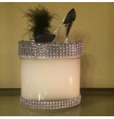 16 oz Candle Black & Silver Stiletto with a Black Feather