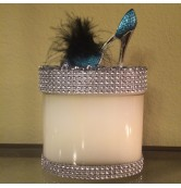 16 oz Oval Blue Feathered Stiletto